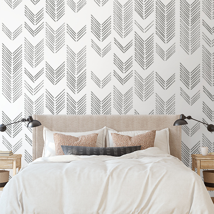 Brushed Chevron Wallpaper Black And White